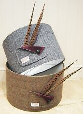 Harris Tweed Lampshade- Black/ Grey Herringbone- Large 45cm 30cm  Drum Shade