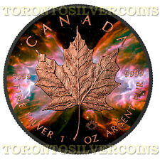 2016 1 oz Silver $5 Maple Butterfly Nebula Black Ruthenium & Rose Gold Coin -NEW
