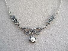 Genuine Silver, Marcasite & Faux Pearl Bow Drop Necklace - Wedding?