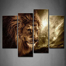 Framed Wall Picture Animal Art Canvas Print Lion Sky Home Decor Interior