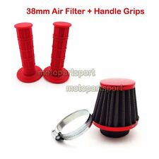 38mm Air Filter Throttle Grips Red 50cc 70cc 90cc 110 125 cc Pit Dirt Motor Bike