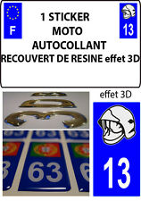 1 sticker plaque immatriculation MOTO DOMING 3D RESINE CASQUE DE POMPIER DEPA 13