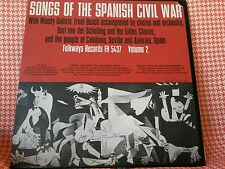 Songs of Spanish Civil War 1962 US Folkways folk lp excellent with booklet. Rare