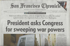 """President asks Congress for sweeping war powers"" 9-14-2001 S.F. Chronicle NEW!"