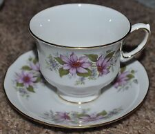 Queen Anne Fine Bone China England Tea Cup and Saucer White With Pink flowers