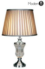 CLASSIC CRYSTAL EFFECT LAMP WITH GREY SILVER RIBBED SHADE, BEDSIDE OR TABLE LAMP