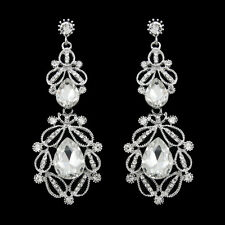 GORGEOUS 18K WHITE GOLD PLATED AUSTRIAN CRYSTAL LONG DANGLE STATEMENT EARRINGS