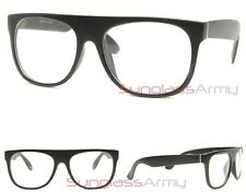 """Flat Top Eyeglasses"" MATTE BLACK glasses nerd geek optical wayfarer square"