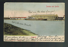 1906 Braila Romania Perfin postcard Cover to Fort Dodge Iowa USA Docks Danube