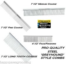 MGT PRO All Breed 4 pc GREYHOUND COMB SET KIT Steel HAIR Pet Dog Cat Grooming
