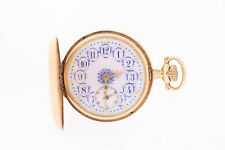 Antique Lady Waltham 14k Os 16 J Fancy Dial Louis XV Hands Hunter Pocket Watch