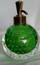 Art Glass Murano Franck, Erikson Harliquin Green Controlled Bubbles Perfume Vint