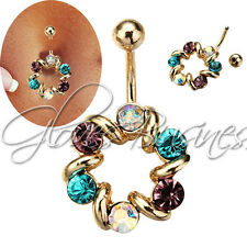 14KT Gold Plated 316L Surgical Steel Three Color Crystal Circle Belly Ring