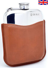 Hand Made Pewter Hip Flask 6oz Captive Top in Leather Sleeve with Free Engraving