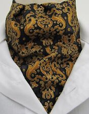 Mens Black Gold and Amber Nouveau Design Cotton Ascot Cravat and Hanky - UK Made