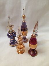 5 Art Glass Vintage Ornate Perfume Bottles - Collectable