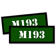 """M193 Ammo Can 2x  GREEN Labels Ammunition 3""""x1.15"""" stickers M193 decals 2 pack"""