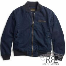 $590 RRL Ralph Lauren VINTAGE INDIGO COTTON MILITARY BOMBER JACKET COAT-MEN-XXL
