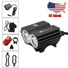 US 6000Lm 2x CREE T6 LED Front Head Bicycle Bike Light Lamp 4x18650 +Taillight