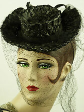 VINTAGE HAT 1930s FRENCH, RIDING HAT STYLE LADIES TILT HAT, STRAW & FINE VEILING