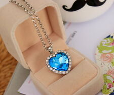 Fashion Woman Jewelry Movie Titanic Blue Zircon Heart of Ocean Pendant Necklace