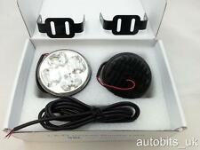 """DRL Daytime Running Lights Lamps 70mm/2.75"""" Round 6000k 2x4 Clear White LED E4"""