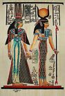 Egyptian Hand-Painted Papyrus Artwork: Isis Leading Queen Nefertari