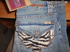 NWT SOPHIE PARIS ZEBRA FUR FLAP POCKET JEANS SZ 00 (24X33.5)