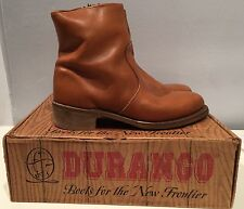 "Authentic Durango Men's 7"" Brandy Zipper boots sz 10 belt 38 cowboy vintage rare"