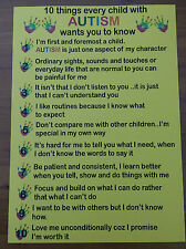 10 THINGS EVERY CHILD WITH AUTISM WANTS YOU TO KNOW POSTER - AUTISM