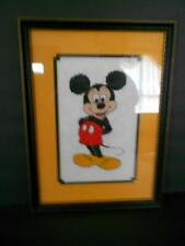VINTAGE NEEDLEPOINT HAND MADE STITCHED & FRAMED 14 x 10 DISNEY MICKEY MOUSE