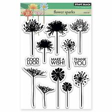 Flower Sparks, Clear Unmounted Rubber Stamp Set PENNY BLACK- NEW, 30-281