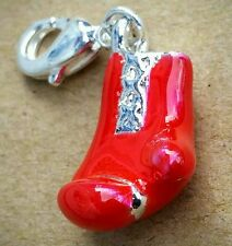 1 Fire Engine Red Enamel 3D Boxing Glove Silver Plate European Dangle Clip Charm