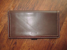 Coach Vintage Chocolate Brown Leather Checkbook Wallet