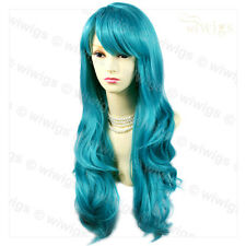 Beautiful Heat Resistant Wavy Turquoise Blue Long Cosplay Ladies Wigs WIWIGS UK
