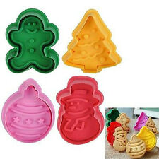 4pcs Christmas Xmas Cake Plunger Mold Fondant Pastry Cookies Cutter Mould