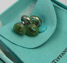 Tiffany & Co Sterling Silver Elsa Peretti Green Jade Eternal Circle Cufflinks