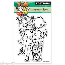 New Penny Black SUMMER LOVE Mini Clear Stamp Friends Ice Cream Children Girl Boy
