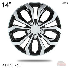 "NEW 14"" ABS SILVER RIM LUG STEEL WHEEL HUBCAPS COVER 553 FOR HONDA"