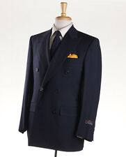 NWT $2995 D'AVENZA Navy Blue Super 120s Wool Blazer 38 R DB Sport Coat