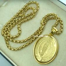 Men 18k Yellow Gold Filled The Virgin Mary Pendant Chain Necklace N277