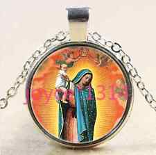 Our Lady of Guadalupe Cabochon Tibetan silver Glass Chain Pendant Necklace #2286