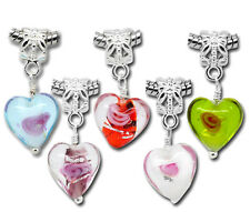 20PCs BD Mixed Glass Heart Dangle Beads Fit Charm Bracelet