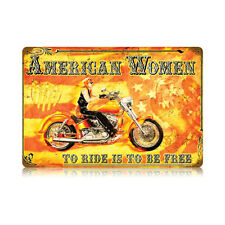 PIN-UP GIRL Metall Schild AMERICAN WOMAN Chopper Harley Indian Biker Babe USA V2