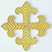 Hand-Embroidered Applique. Gold, Fleury Cross. 3¼""