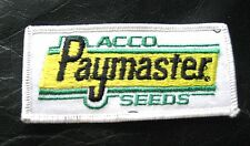 """ACCO SEEDS EMBROIDERED SEW ON PATCH PAYMASTER FARMING UNIFORM 4 1/4"""" x 2"""""""
