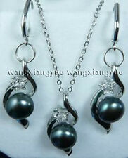Natural Black Akoya Cultured pearl Earrings Pendant Necklace Set AAA Grade