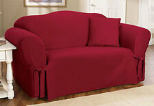 Sure Fit Cotton Duck One Piece Sofa Slipcover Red Box Style