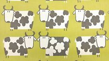 Moo Moo Cow Kiwi Green Curtain Craft Upholstery Designer Cotton Fabric