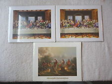 "Set Of 3 Religious Graphic Pictures That Need Framed "" NIP "" On Cardboard"